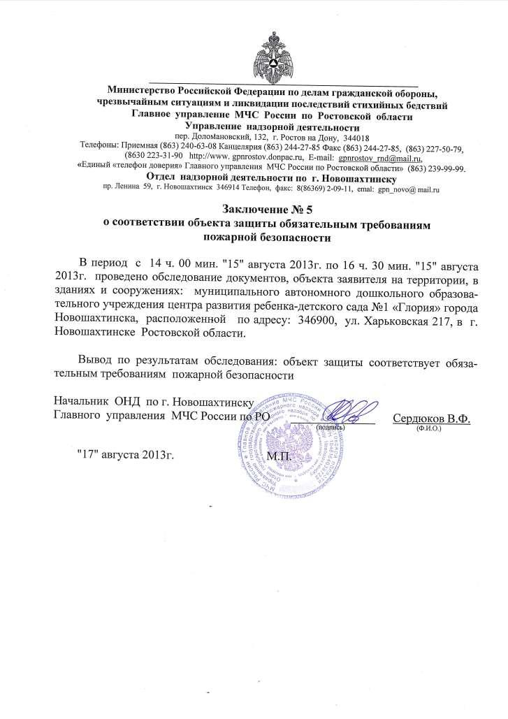 Заключение Госпожнадзора от 17.08.2013г
