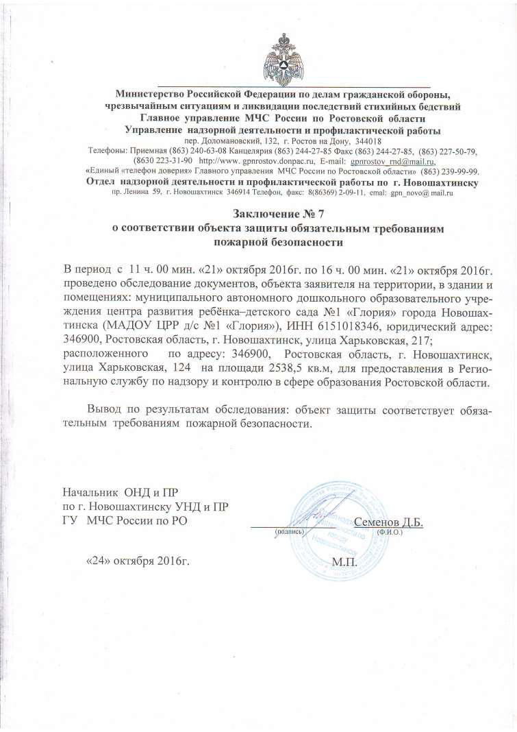 Заключение Госпожнадзора от 24.10.2016г